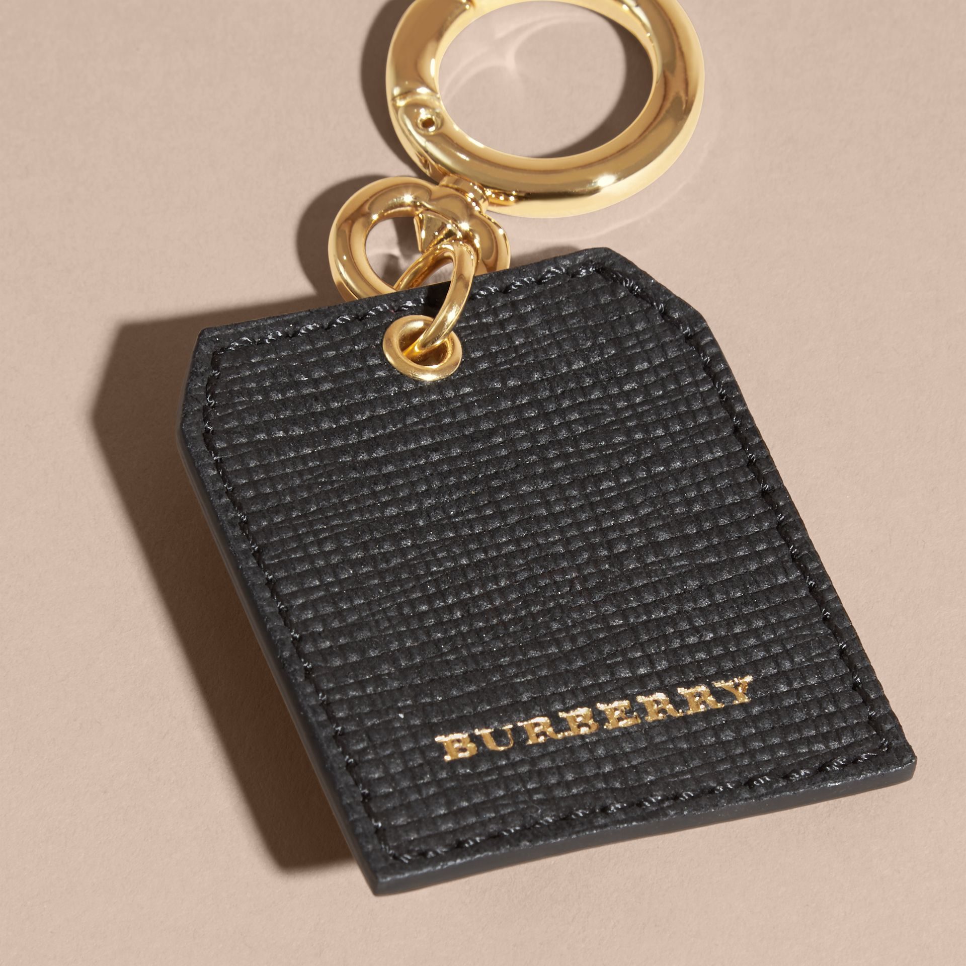 Leather Key Charm in Black - Women | Burberry - gallery image 4