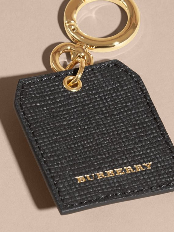 Leather Key Charm in Black - Women | Burberry - cell image 3