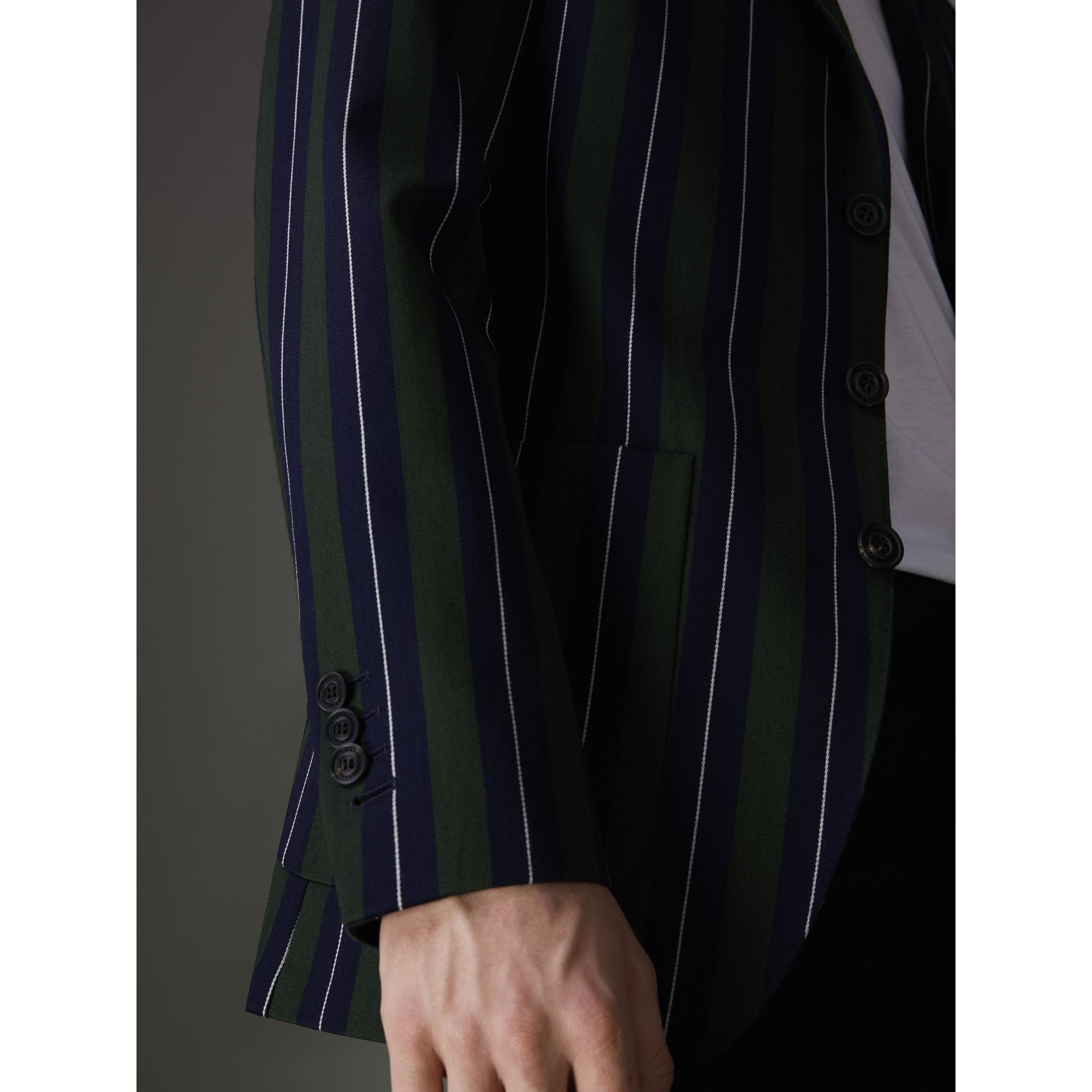 Slim Fit Striped Wool Cotton Club Blazer in Dark Forest Green - Men | Burberry United Kingdom - gallery image 5
