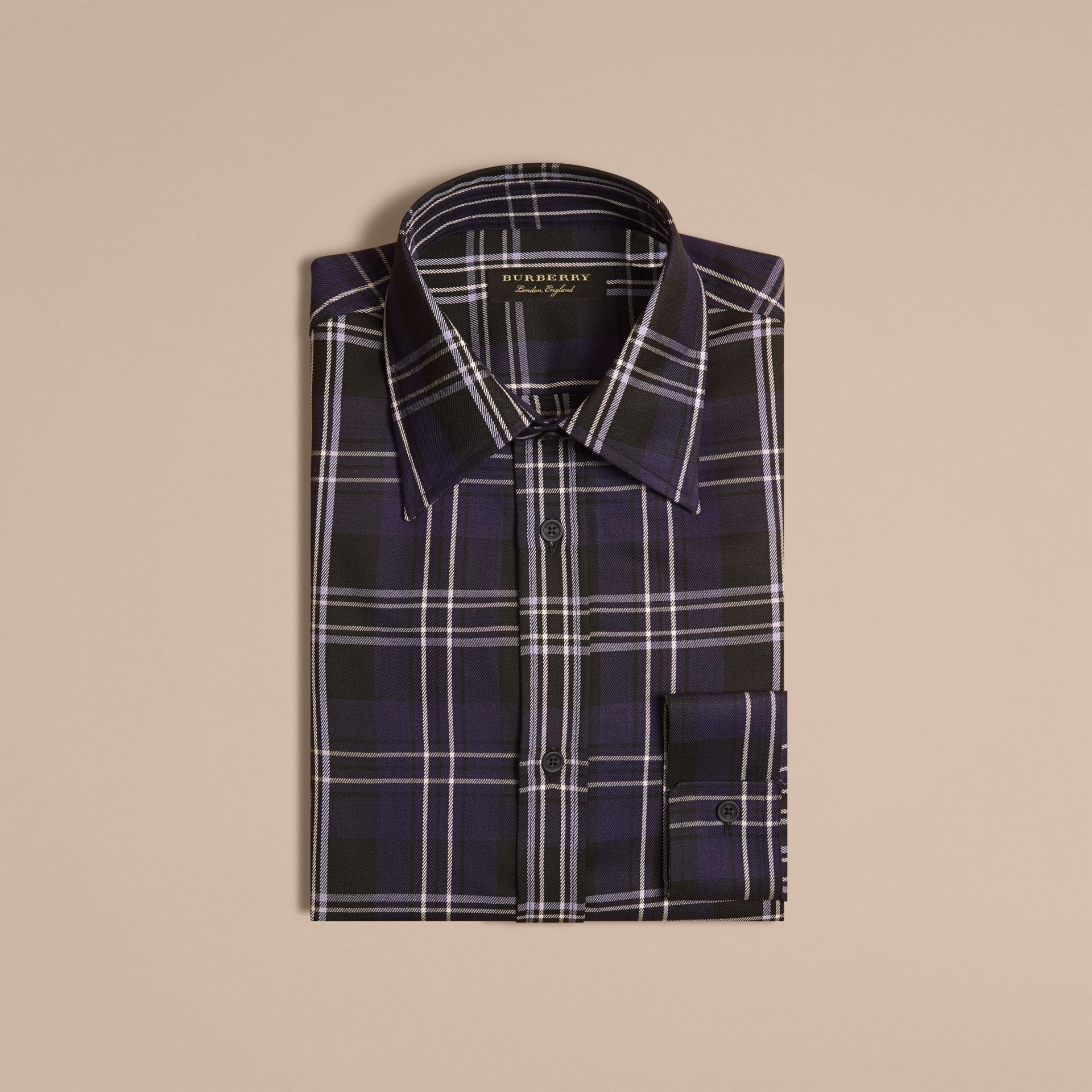 Bright navy Check Wool Shirt Bright Navy - gallery image 4