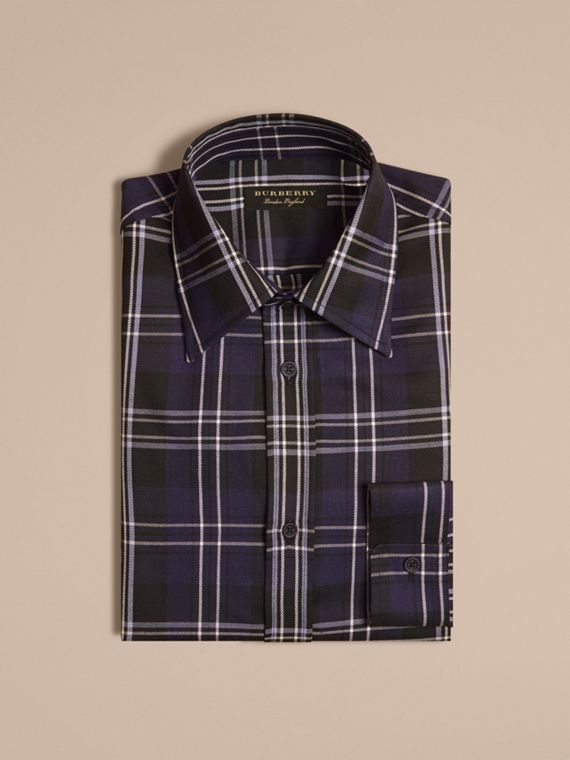 Bright navy Check Wool Shirt Bright Navy - cell image 3