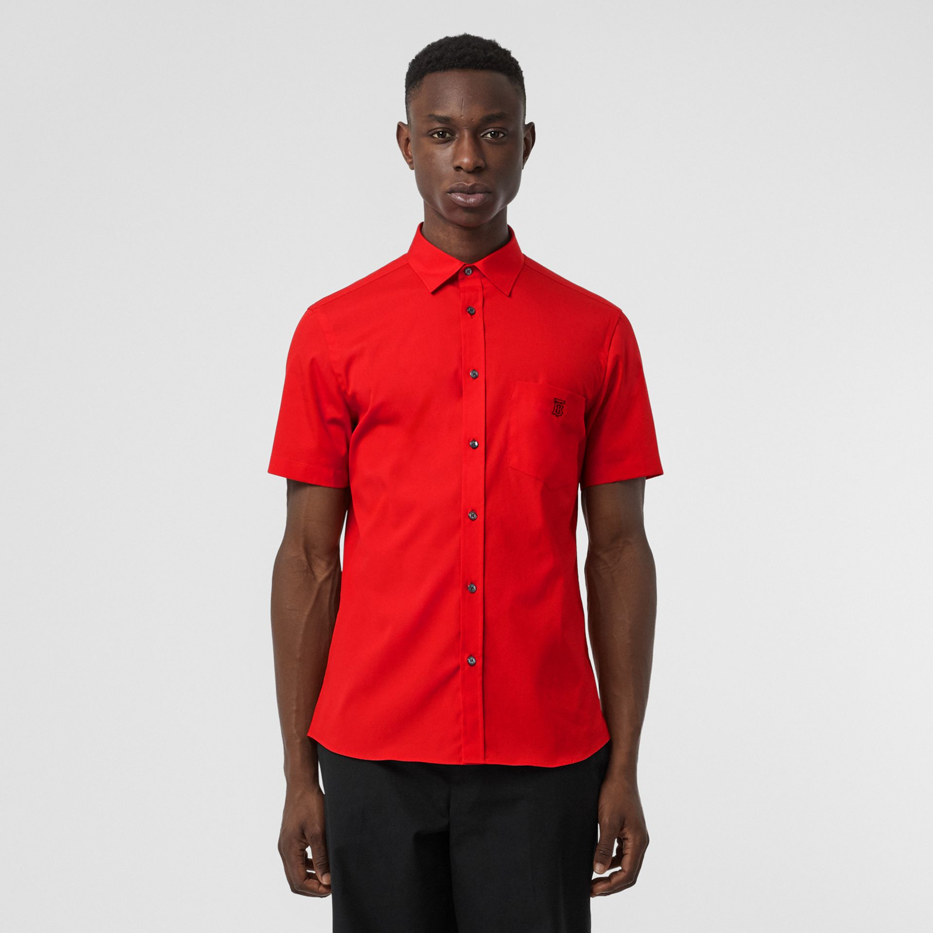 Short-sleeve Monogram Motif Stretch Cotton Shirt in Bright Red - Men | Burberry - gallery image 0