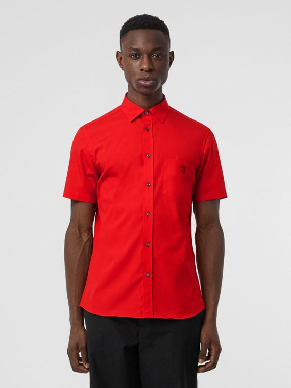 Short-sleeve Monogram Motif Stretch Cotton Shirt in Bright Red