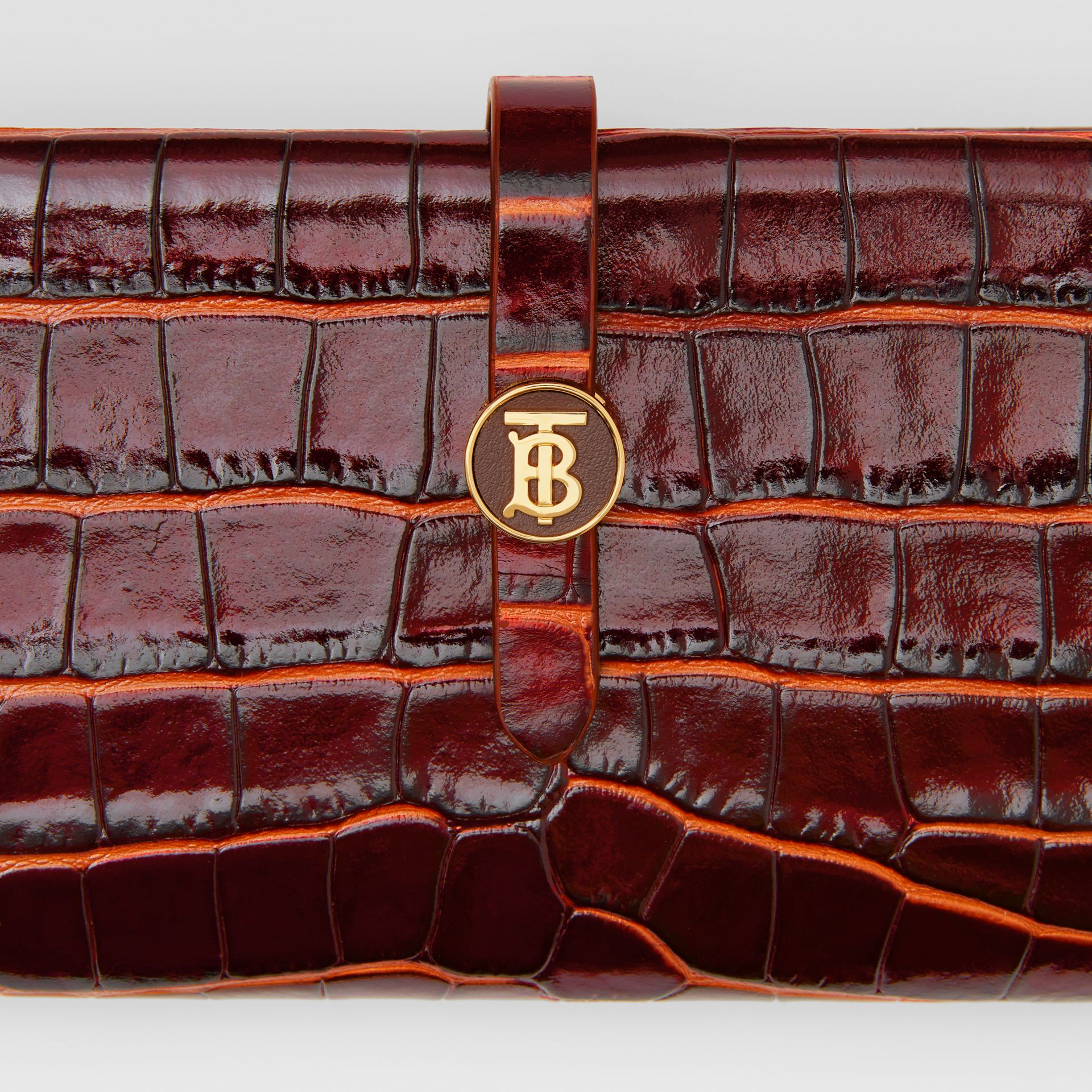 Monogram Motif Embossed Leather Folding Wallet in Tan - Women | Burberry - gallery image 1