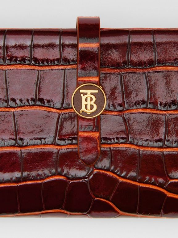 Monogram Motif Embossed Leather Folding Wallet in Tan - Women | Burberry - cell image 1