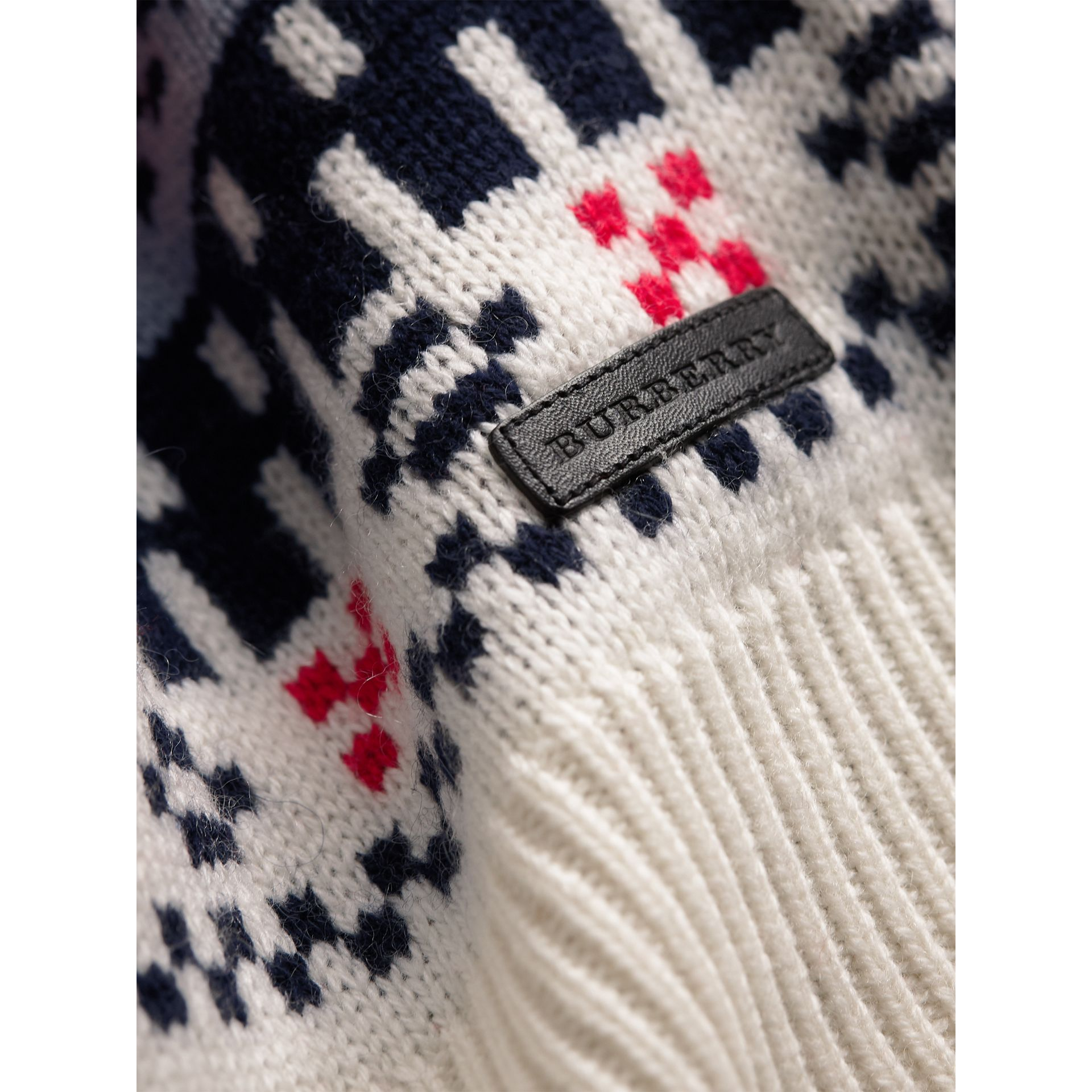 Fair Isle Wool Cashmere Patchwork Sweater in Pewter Blue - Girl | Burberry - gallery image 1