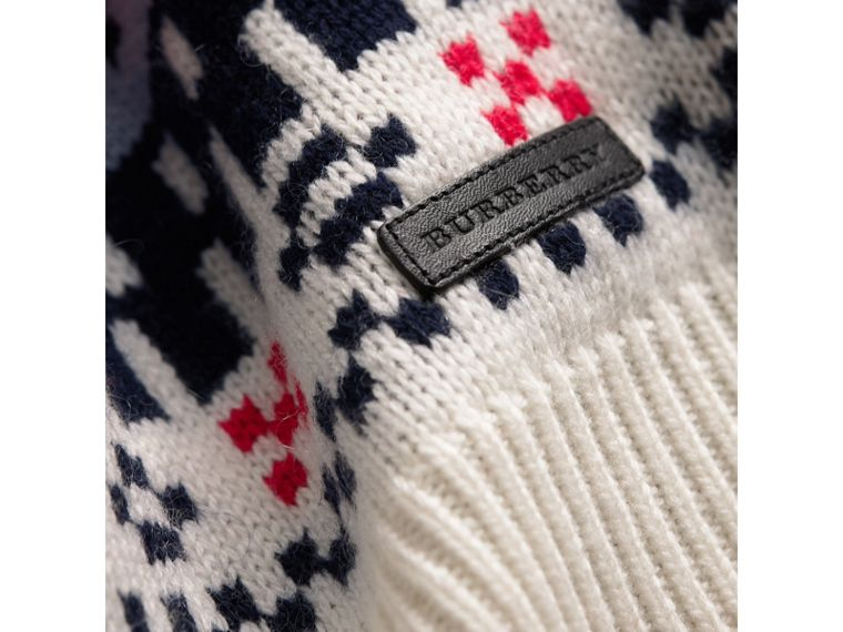 Fair Isle Wool Cashmere Patchwork Sweater in Pewter Blue - Girl | Burberry - cell image 1