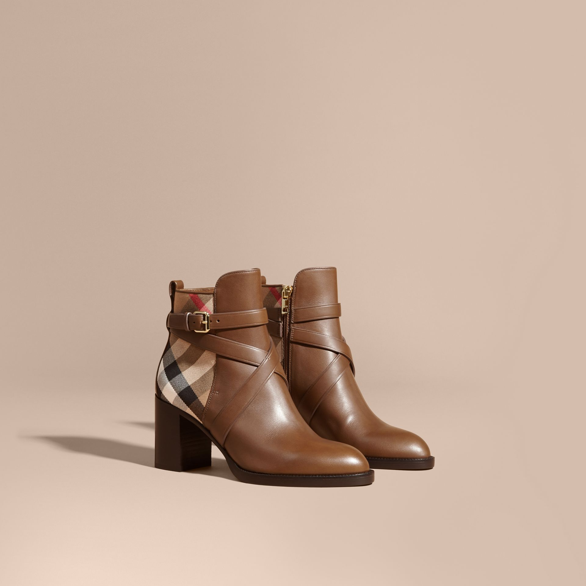 Bright camel House Check and Leather Ankle Boots - gallery image 1