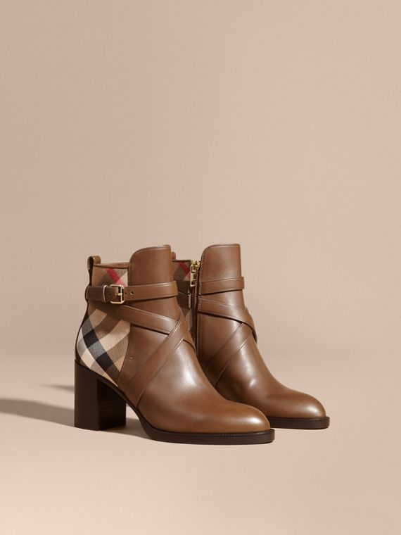 House Check and Leather Ankle Boots Bright Camel