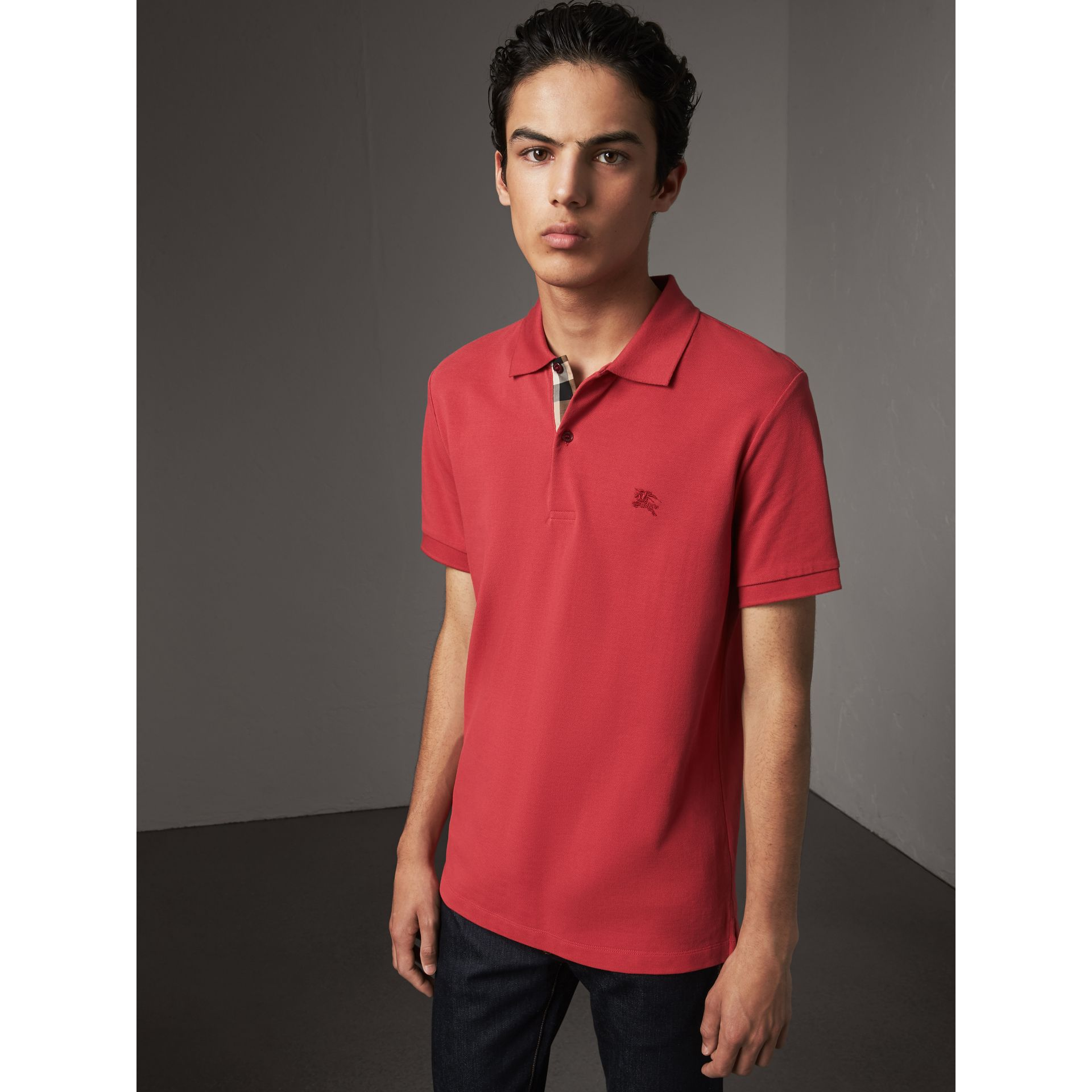 Check Placket Cotton Piqué Polo Shirt in Coral Red - Men | Burberry United Kingdom - gallery image 0
