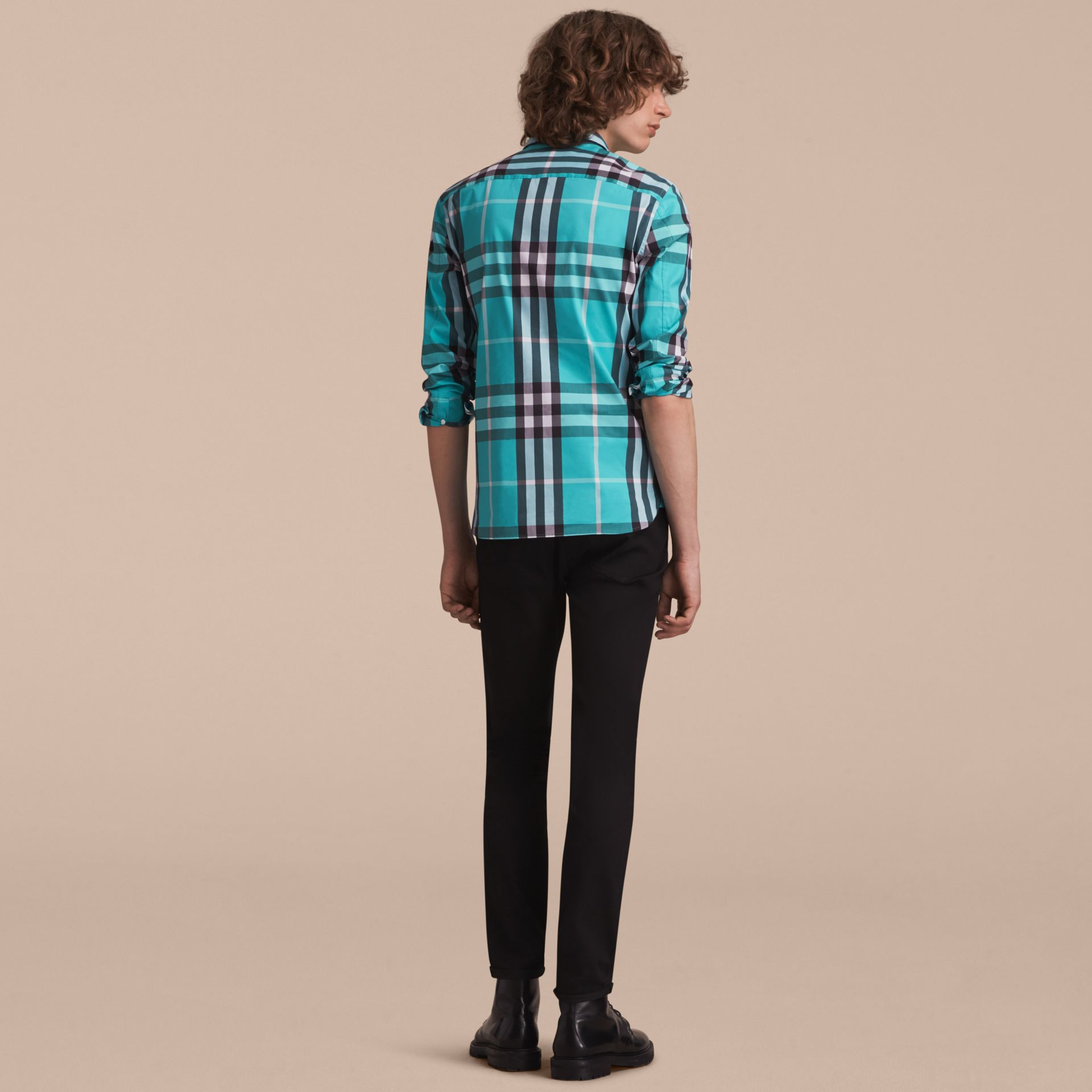 Check Stretch Cotton Shirt in Cyan Green - Men | Burberry - gallery image 3