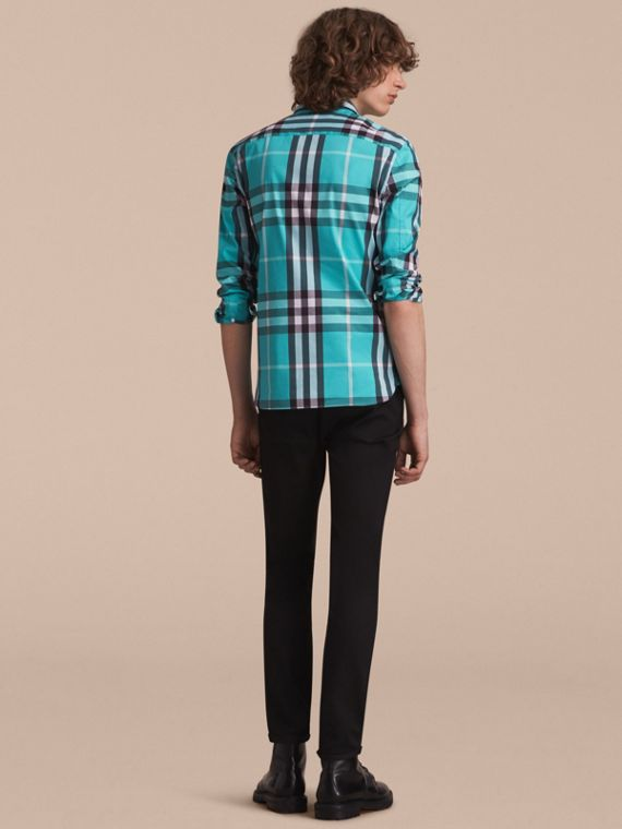 Check Stretch Cotton Shirt in Cyan Green - Men | Burberry Canada - cell image 2