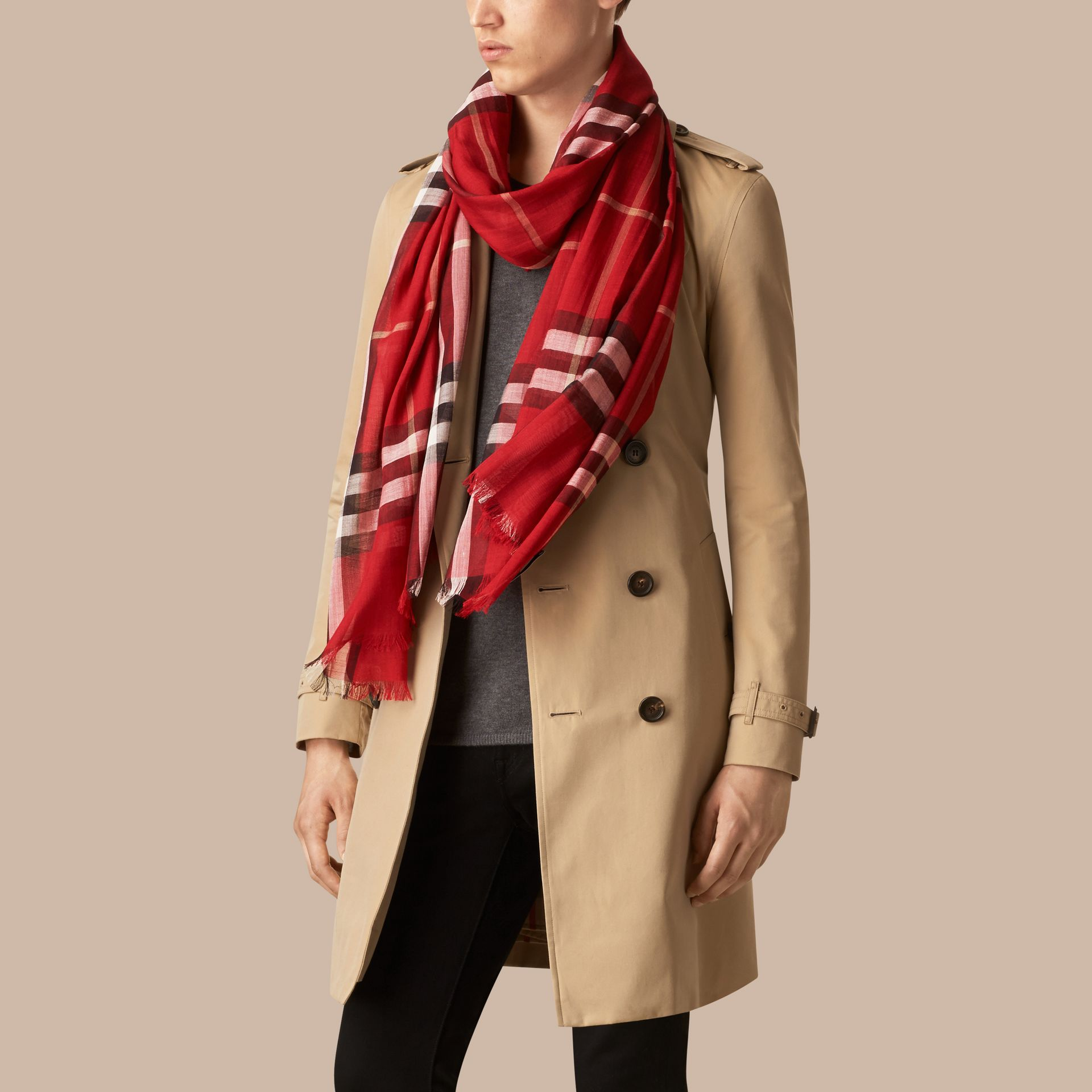 Lightweight Check Wool and Silk Scarf in Parade Red - gallery image 4