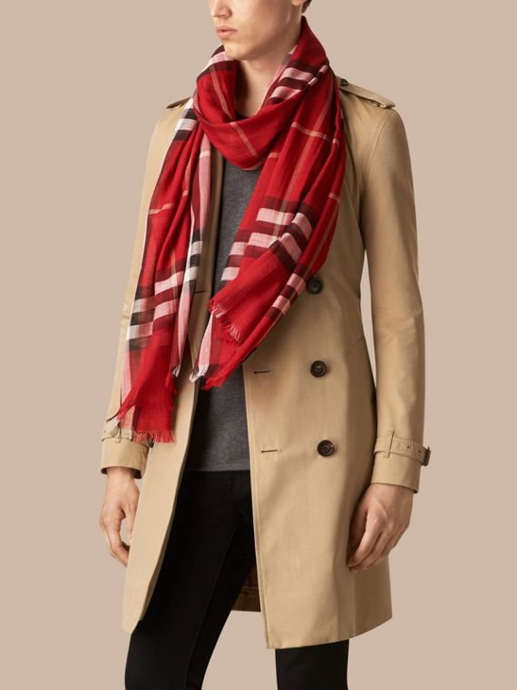 Lightweight Check Wool and Silk Scarf in Parade Red - cell image 3