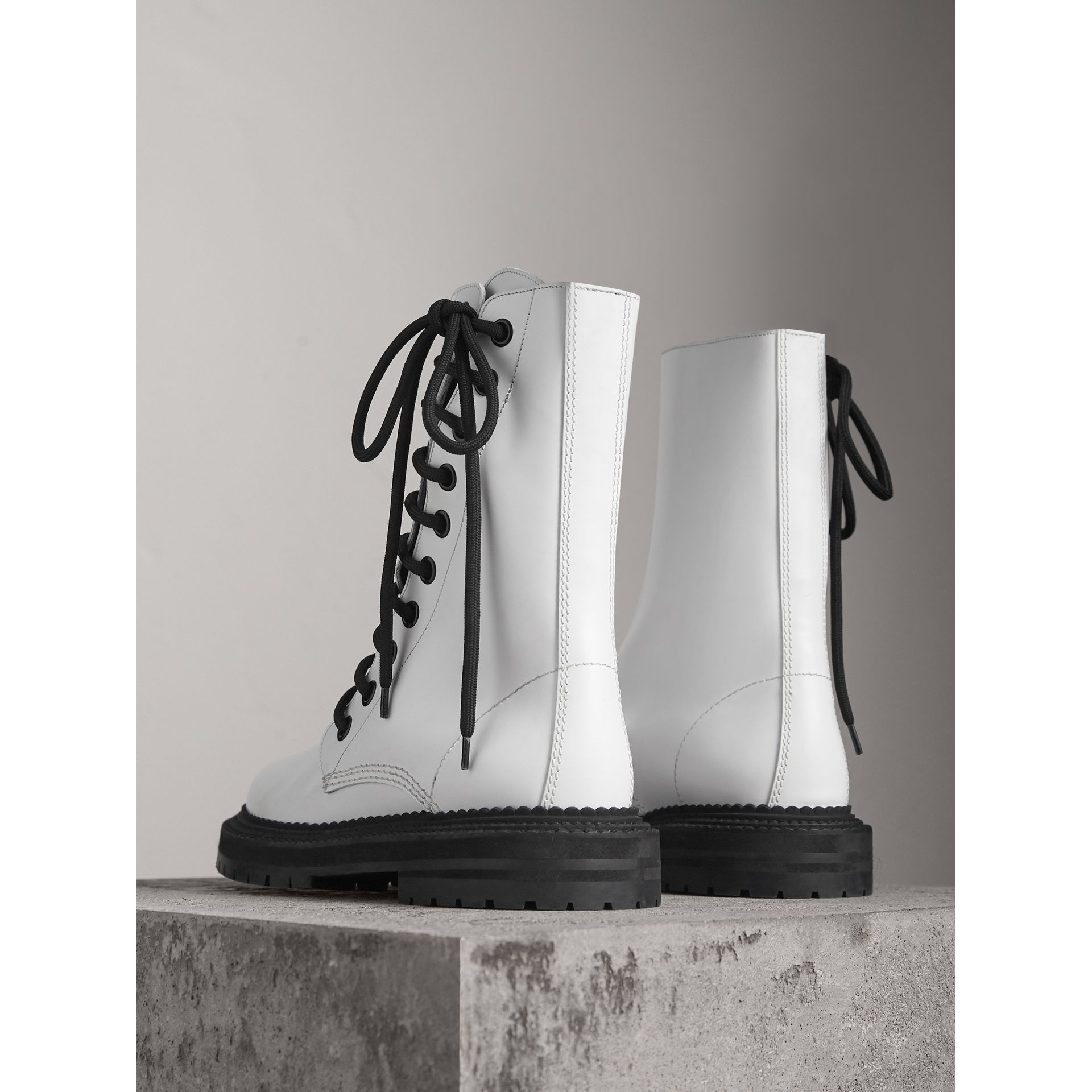 Leather Asymmetric Lace-up Boots in Optic White - Women | Burberry United Kingdom - gallery image 3