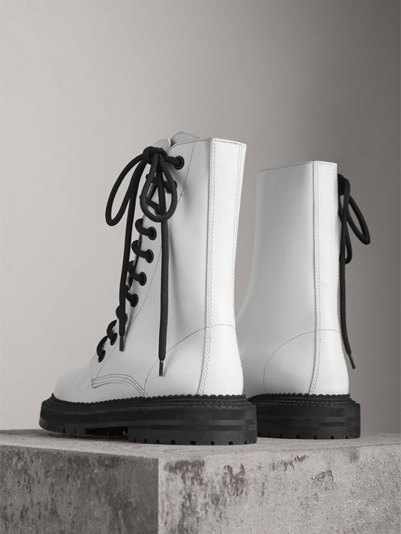 Leather Asymmetric Lace-up Boots in Optic White - Women | Burberry - cell image 3
