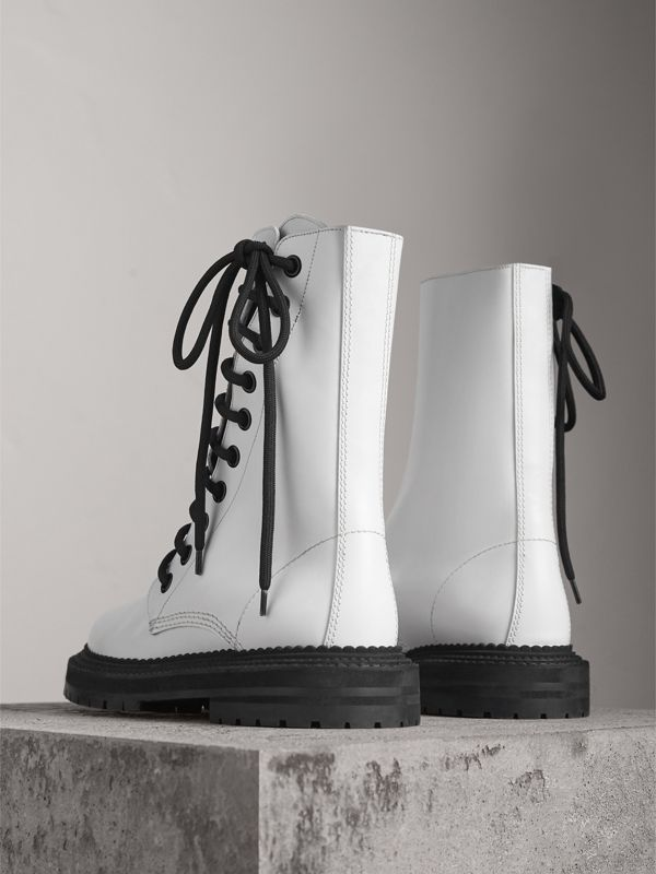 Leather Asymmetric Lace-up Boots in Optic White - Women | Burberry United Kingdom - cell image 3
