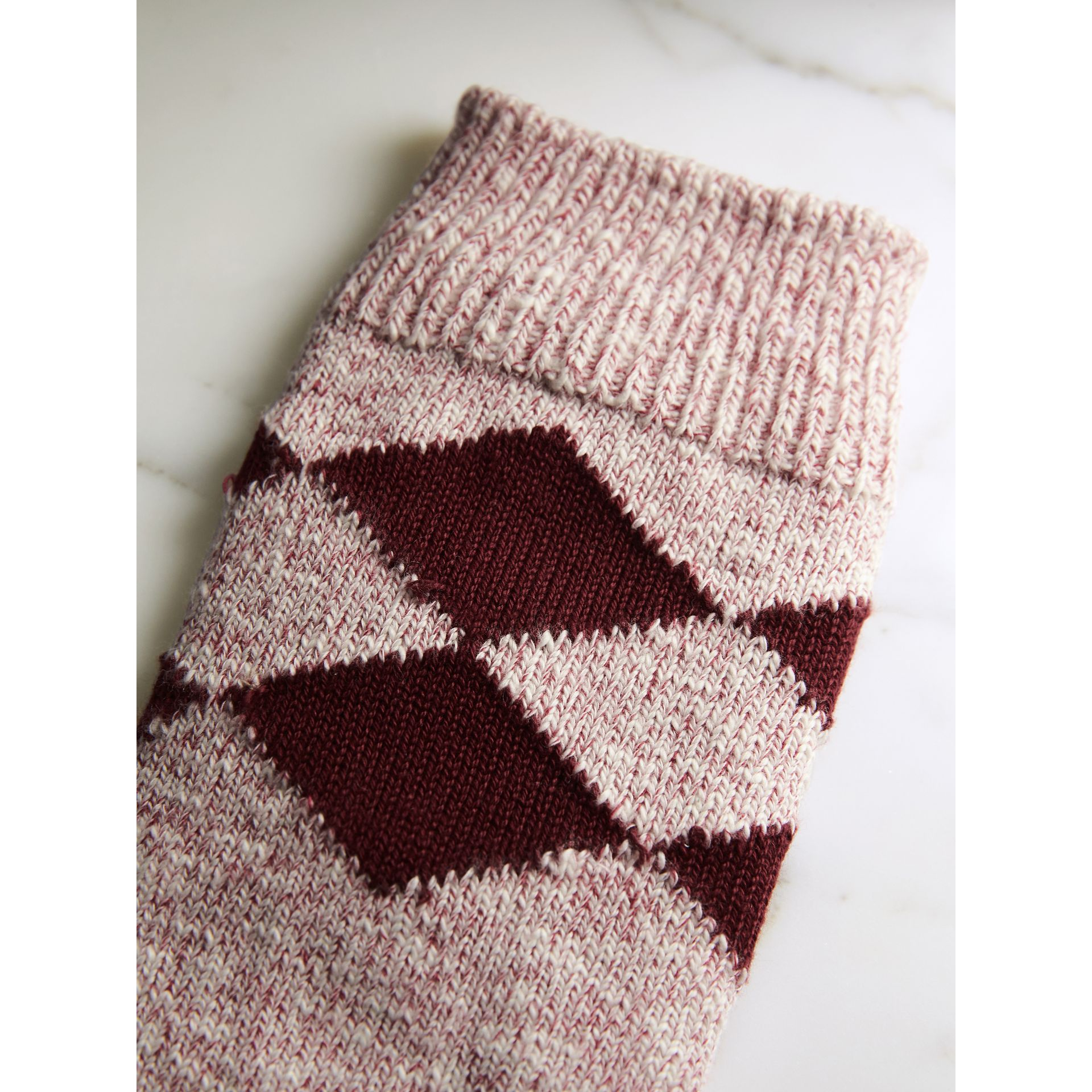 Diamond Knitted Cotton Mouliné Socks in Burgundy | Burberry - gallery image 2