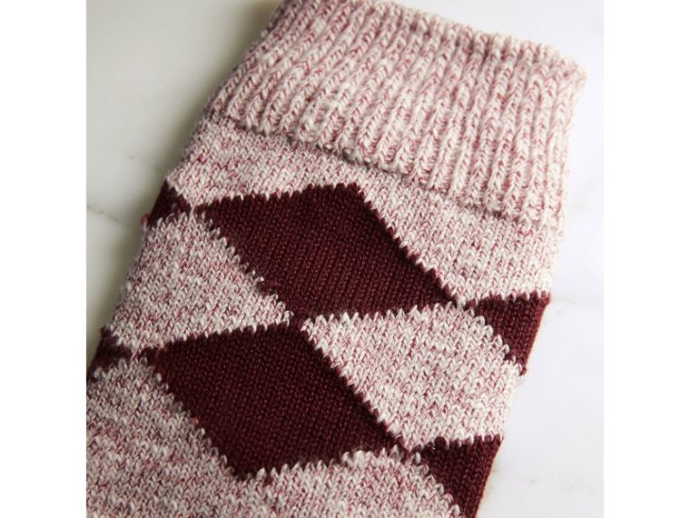 Diamond Knitted Cotton Mouliné Socks in Burgundy | Burberry Singapore - cell image 1