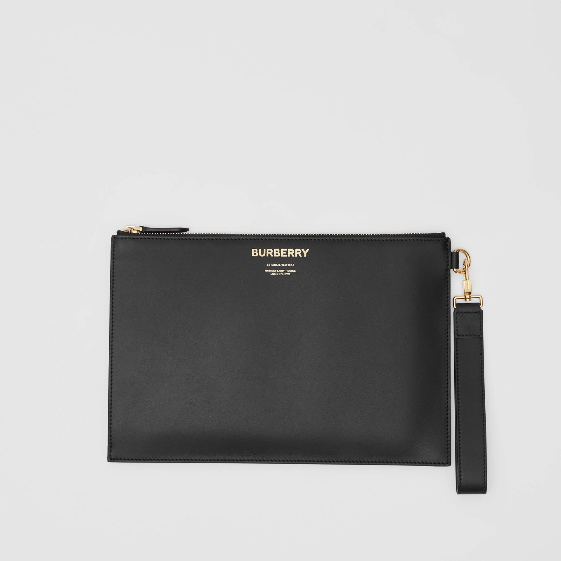 Horseferry Print Leather Zip Pouch in Black - Men | Burberry - gallery image 0