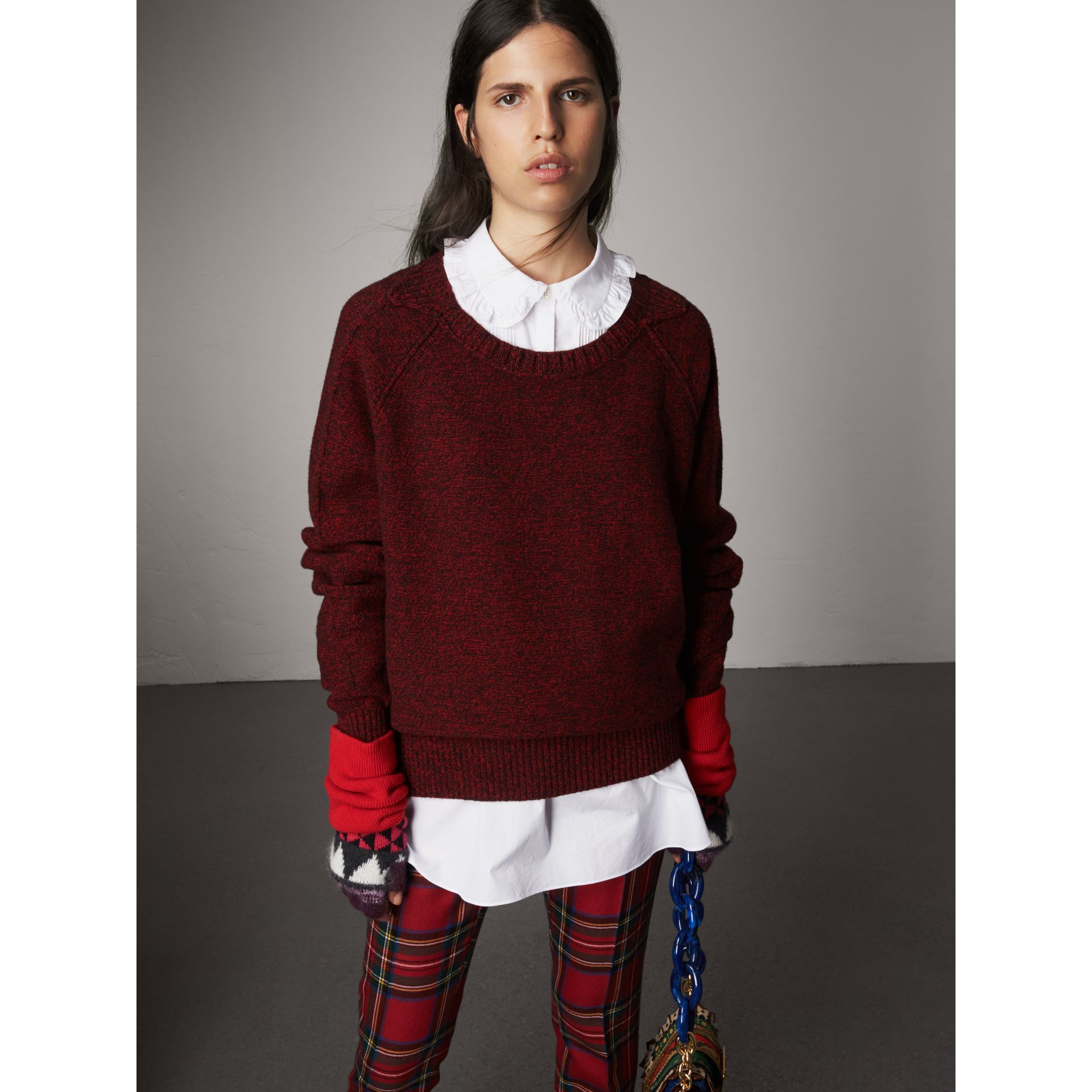 Melange Wool Sweater in Parade Red - Women | Burberry - gallery image 5