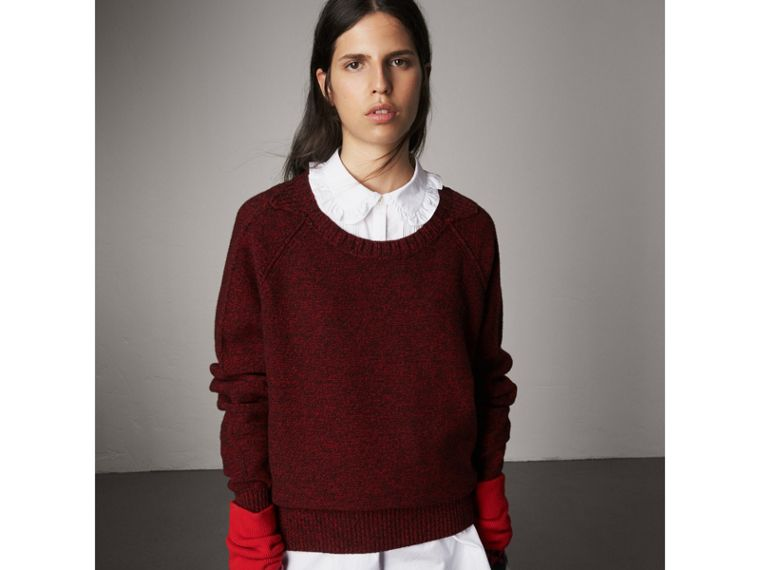 Melange Wool Sweater in Parade Red - Women | Burberry - cell image 4