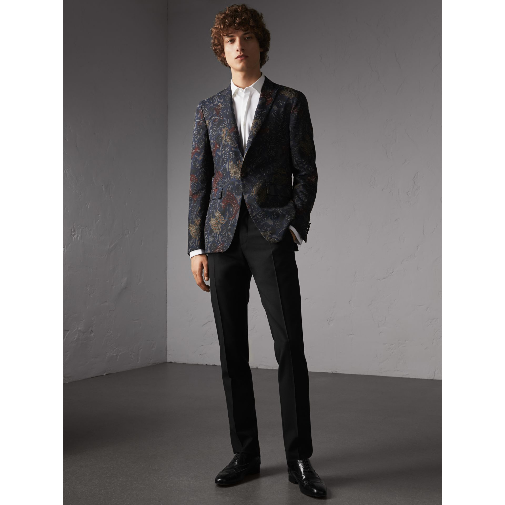 Slim Fit Beasts Technical Silk Jacquard Tailored Jacket in Navy Grey - Men | Burberry - gallery image 1