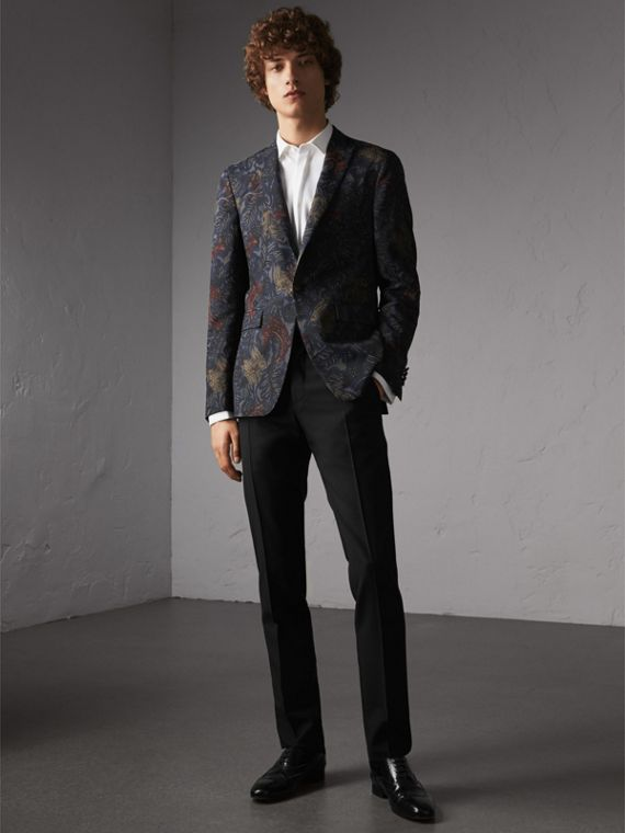 Slim Fit Beasts Technical Silk Jacquard Tailored Jacket in Navy Grey