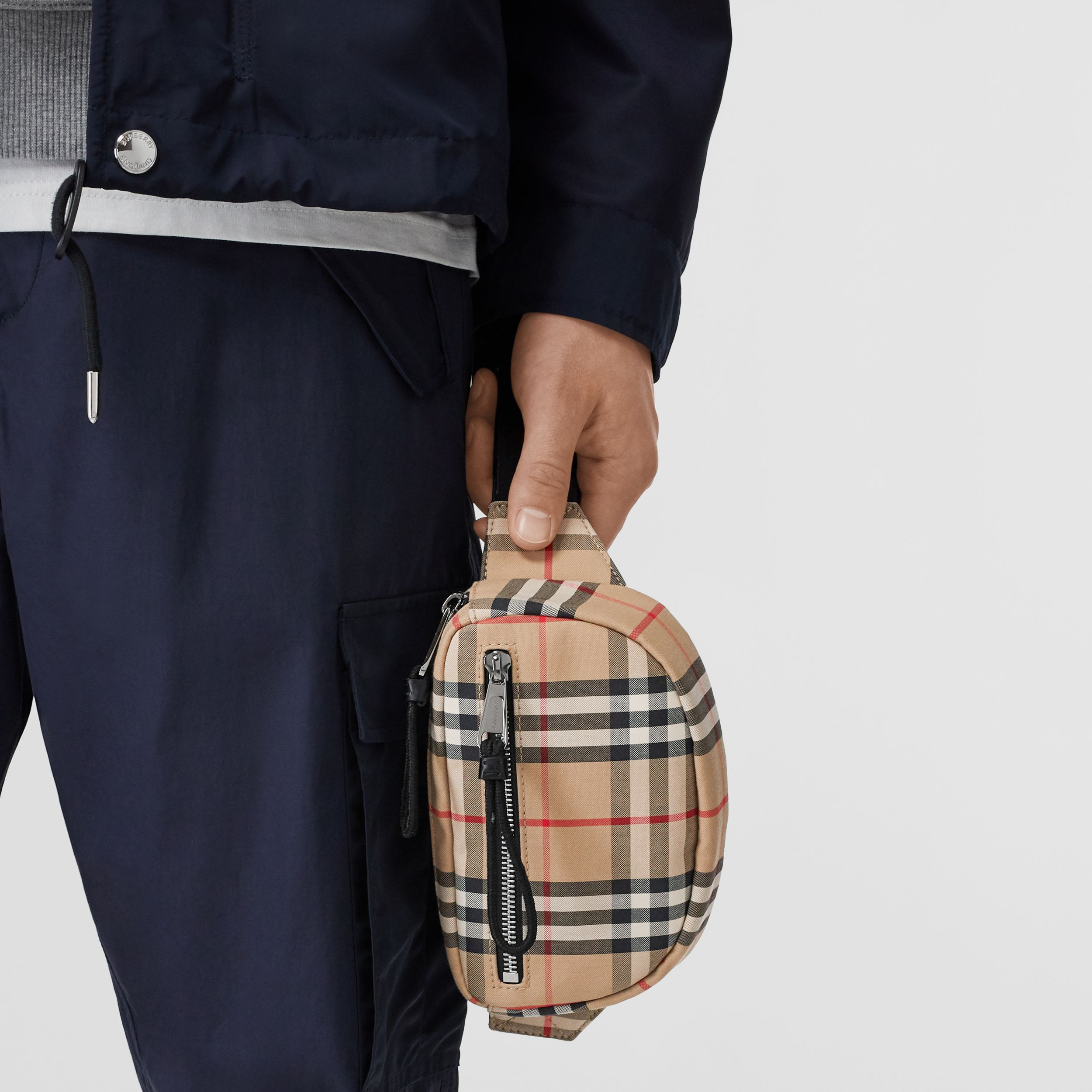 Small Vintage Check Cannon Bum Bag in Archive Beige | Burberry - 4