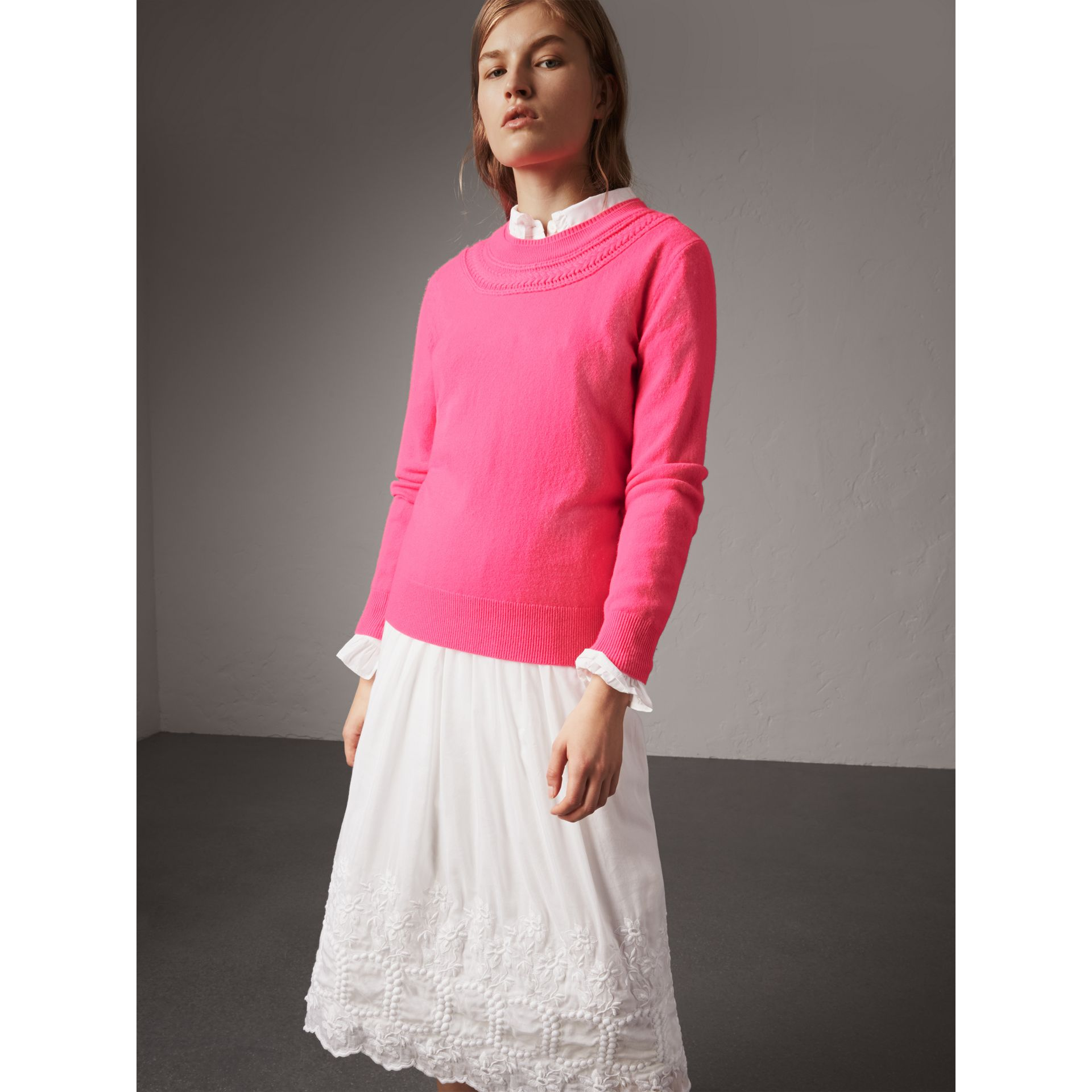 Cable Knit Yoke Cashmere Sweater in Bright Rose Pink - Women | Burberry United Kingdom - gallery image 4