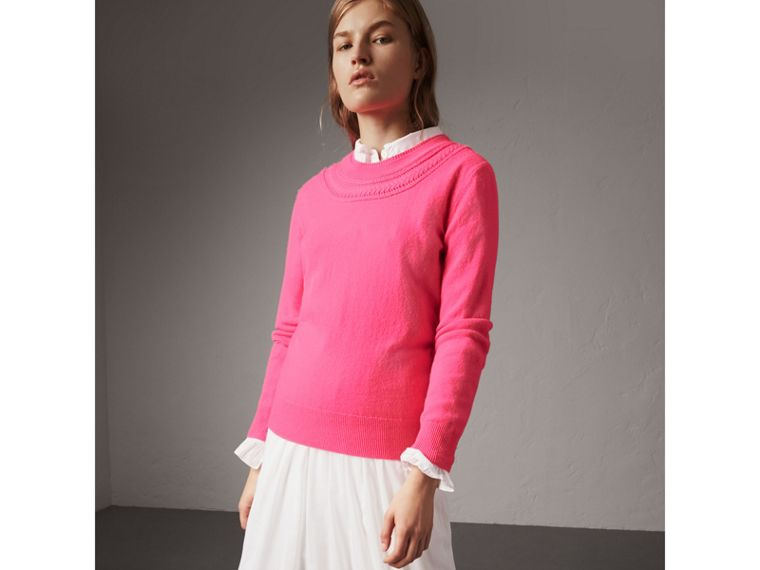 Cable Knit Yoke Cashmere Sweater in Bright Rose Pink - Women | Burberry United Kingdom - cell image 4