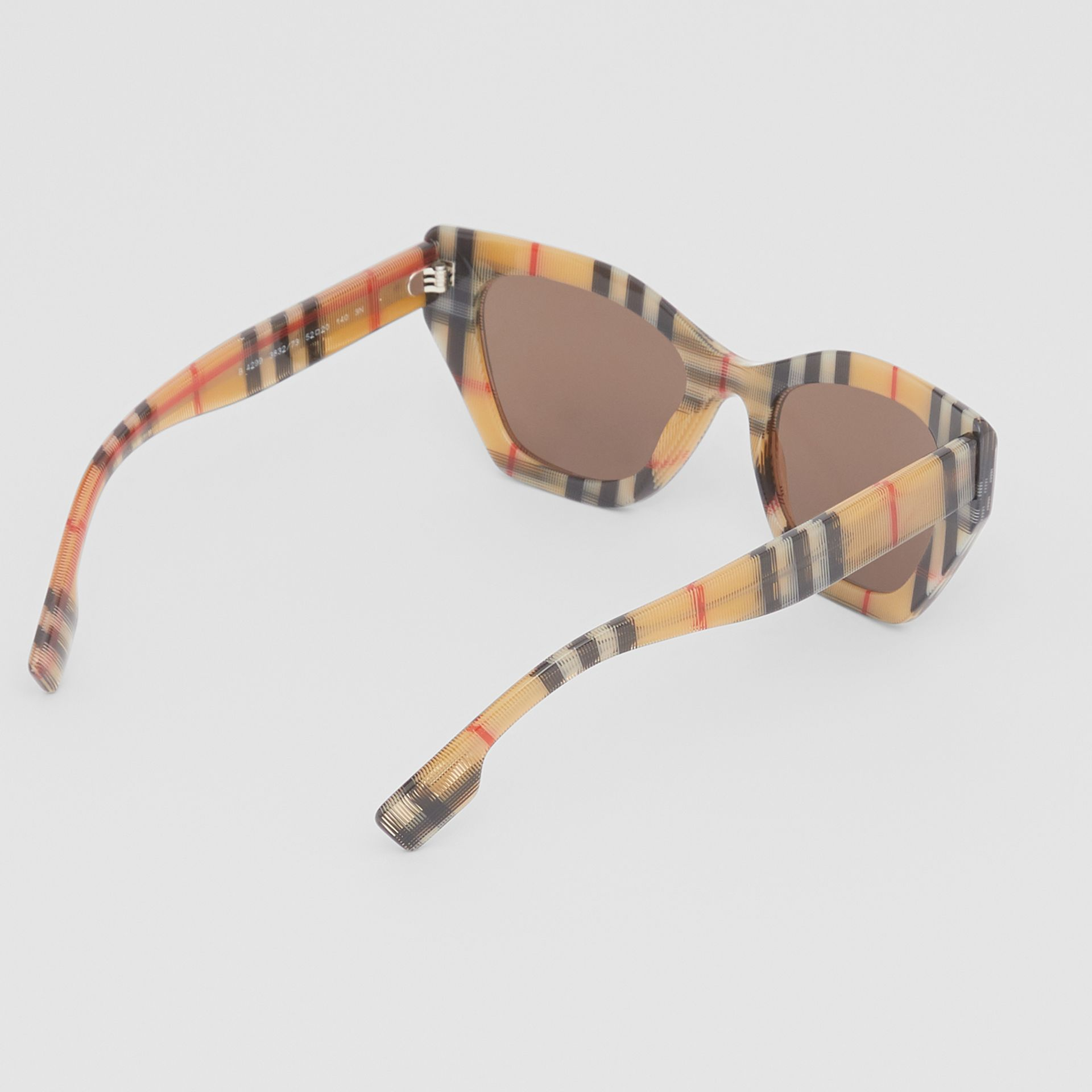 Vintage Check Butterfly Frame Sunglasses in Antique Yellow - Women | Burberry United Kingdom - gallery image 4