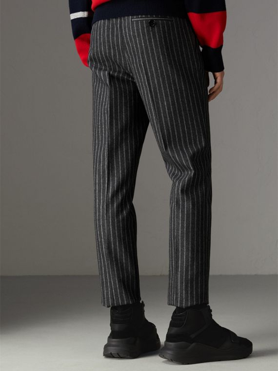 Pinstriped Wool Blend Twill Trousers in Dark Grey | Burberry United States - cell image 2