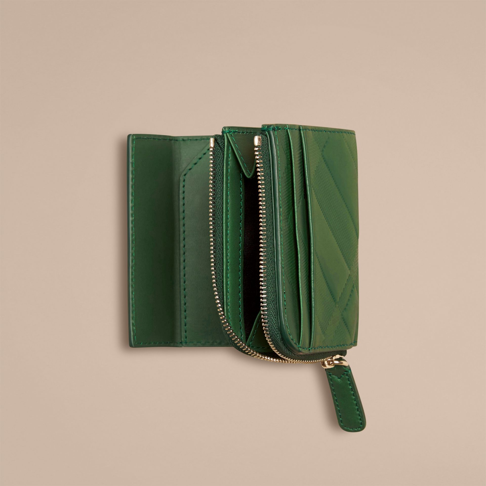 Bright forest green Embossed Check Leather Folding Wallet - gallery image 2