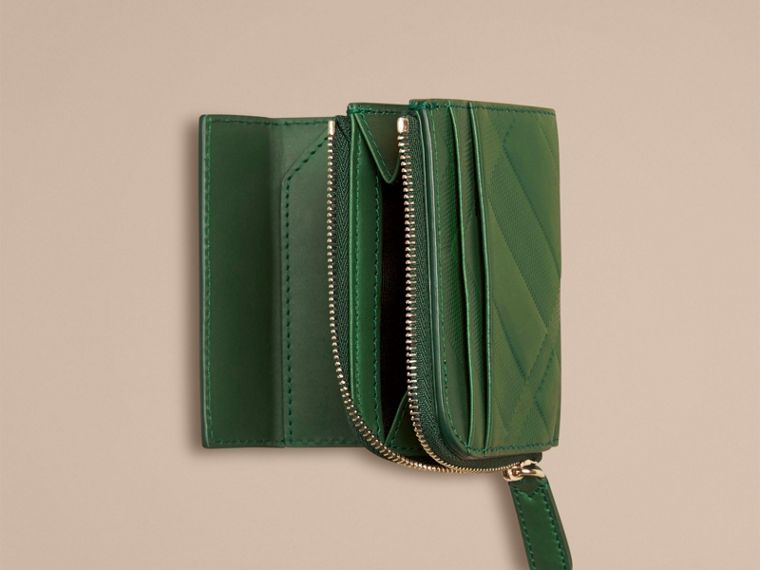 Bright forest green Embossed Check Leather Folding Wallet - cell image 1