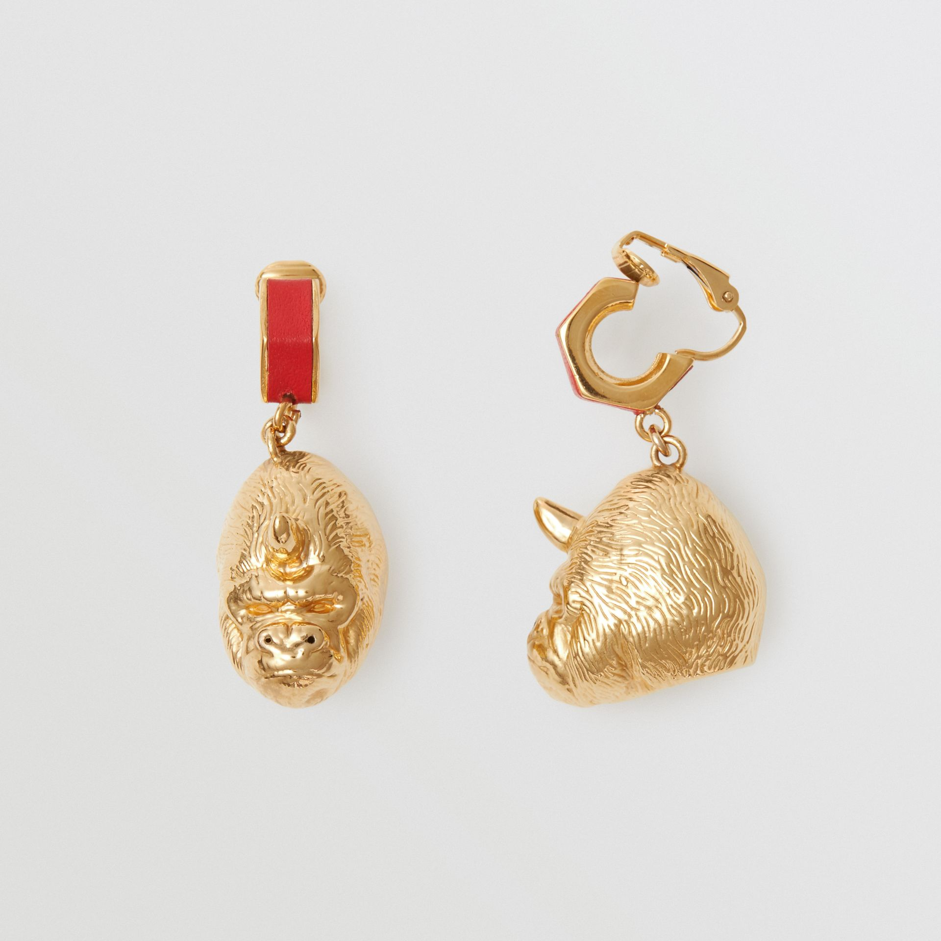 Leather and Gold-plated Nut and Gorilla Earrings in Bright Red/light - Women | Burberry United Kingdom - gallery image 3