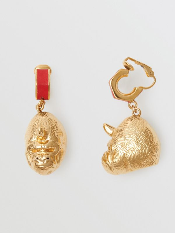Leather and Gold-plated Nut and Gorilla Earrings in Bright Red/light - Women | Burberry United Kingdom - cell image 3