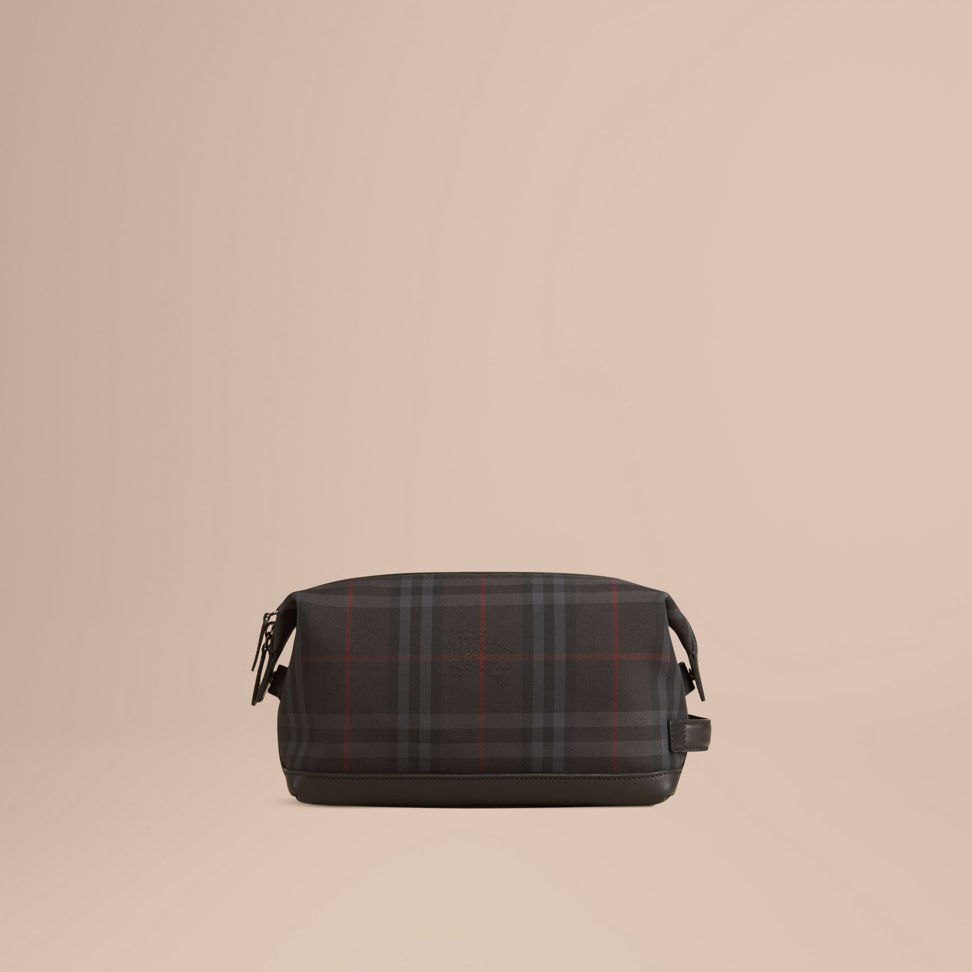 Charcoal/black Horseferry Check and Leather Washbag - gallery image 3