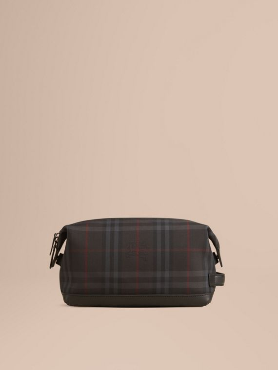 Charcoal/black Horseferry Check and Leather Washbag - cell image 2