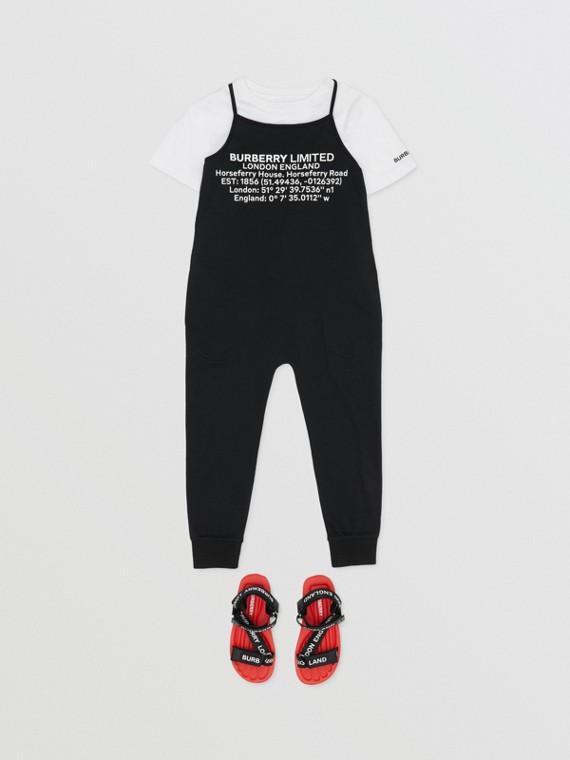 Location Print Cotton Jersey Jumpsuit in Black