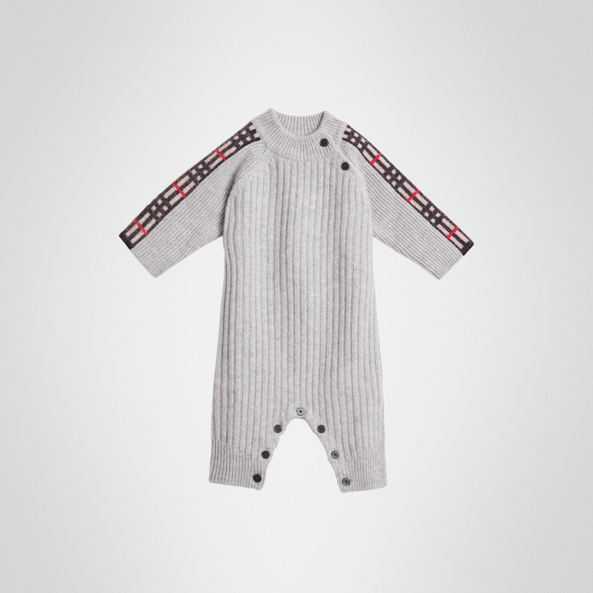 Check Detail Cashmere Jumpsuit in Light Grey Melange - Children | Burberry United Kingdom - gallery image 0