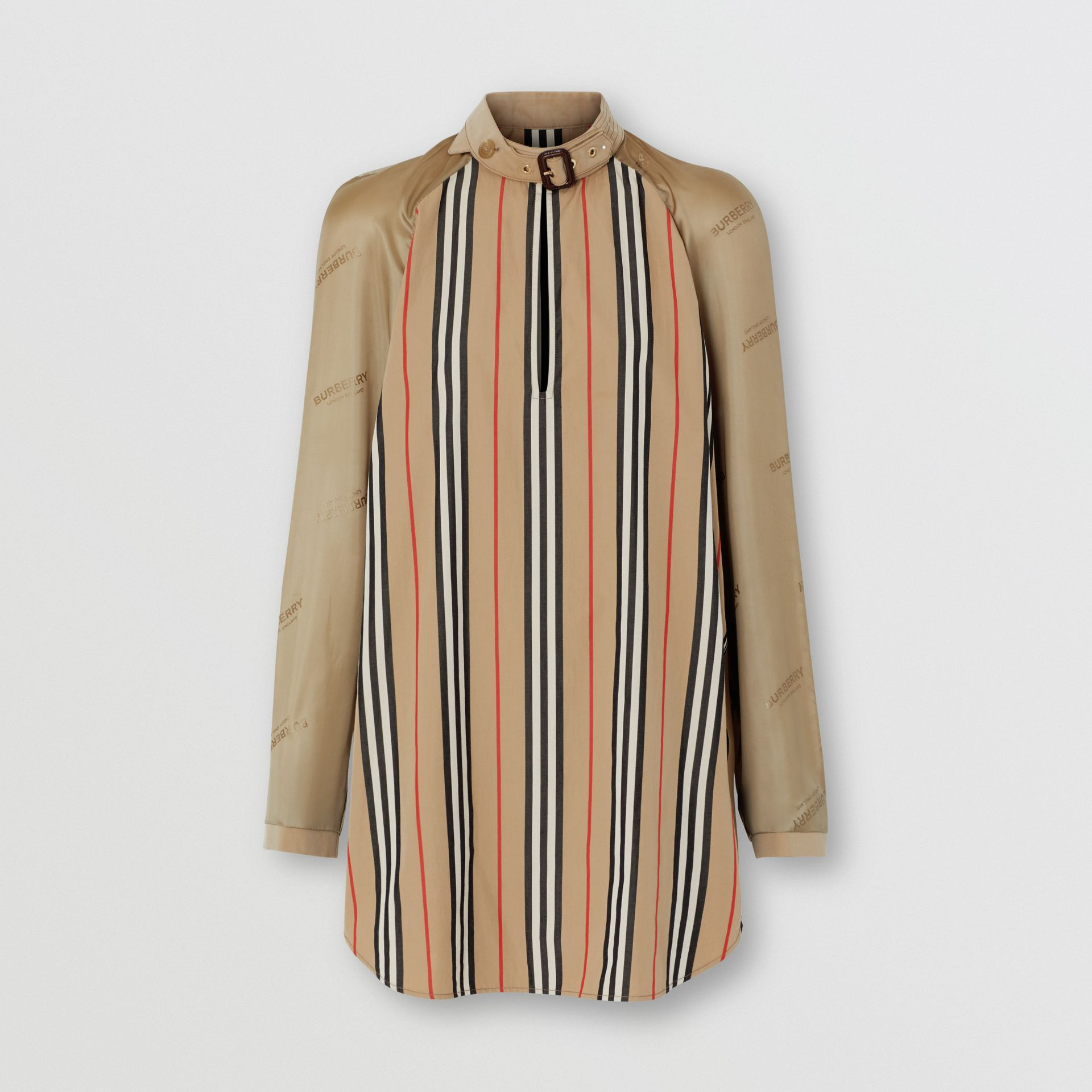 Cut-out Detail Icon Stripe Cotton Blouse in Archive Beige - Women | Burberry - gallery image 3