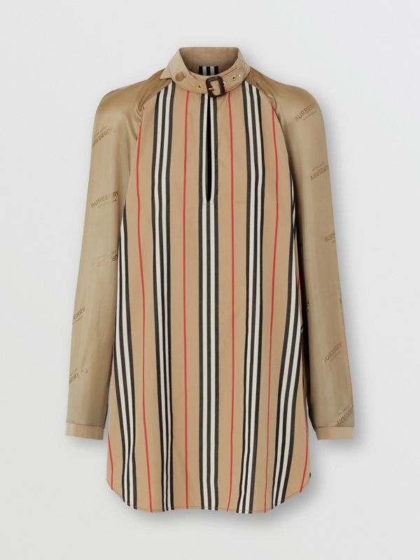 Cut-out Detail Icon Stripe Cotton Blouse in Archive Beige - Women | Burberry - cell image 3