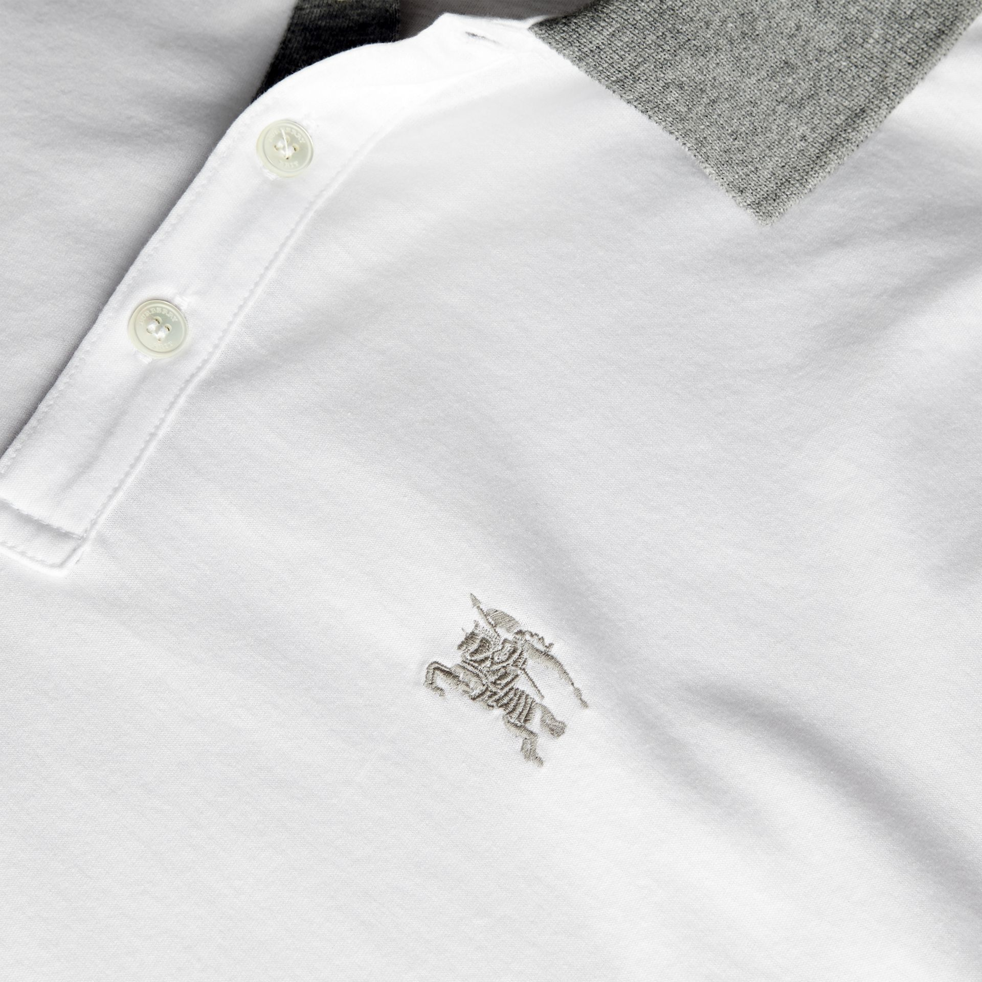 White Fitted Cotton Polo Shirt with Tonal Trim White - gallery image 2