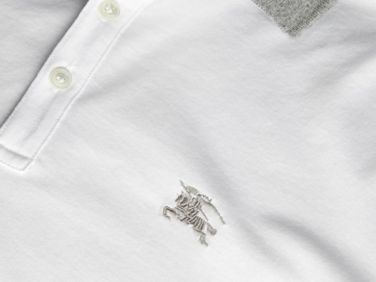 White Fitted Cotton Polo Shirt with Tonal Trim White - cell image 1