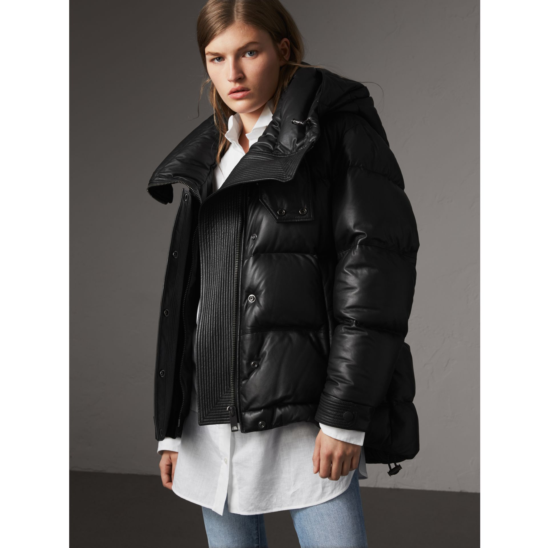 Detachable Hood Lambskin Puffer Jacket in Black - Women | Burberry - gallery image 1