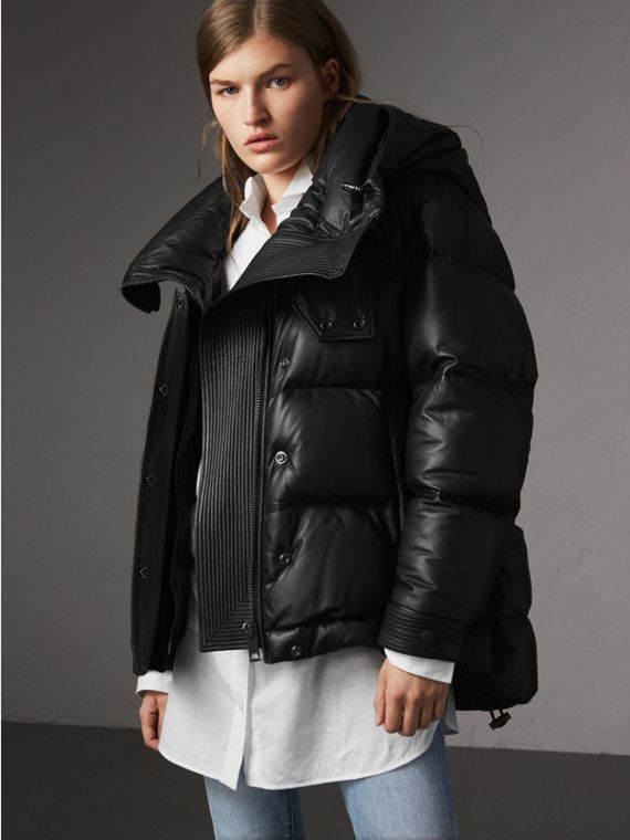 Detachable Hood Lambskin Puffer Jacket in Black