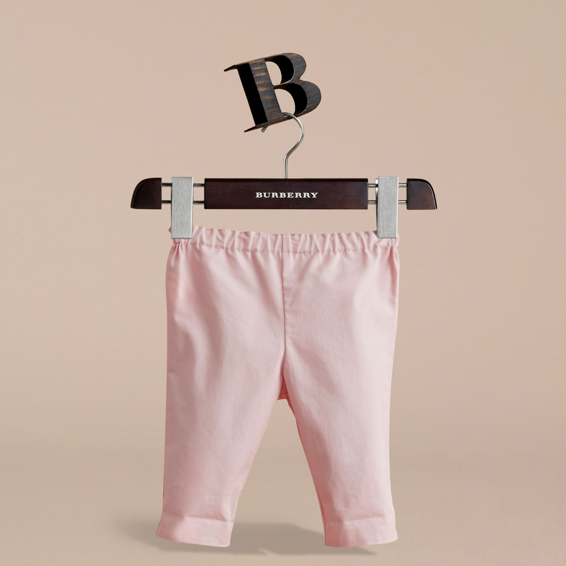 Check Turn-Up Cotton Trousers in Light Pink | Burberry - gallery image 3