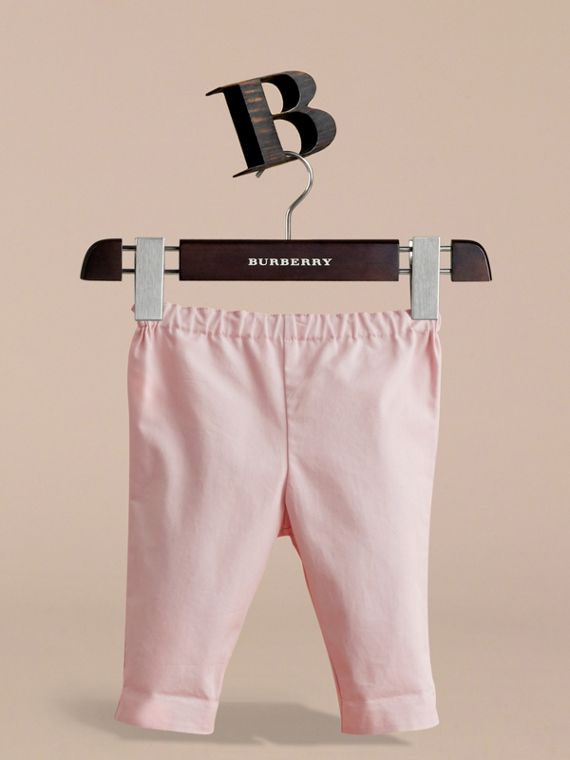 Check Turn-Up Cotton Trousers in Light Pink | Burberry - cell image 2