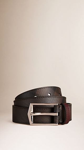 Smoked Check Leather Belt